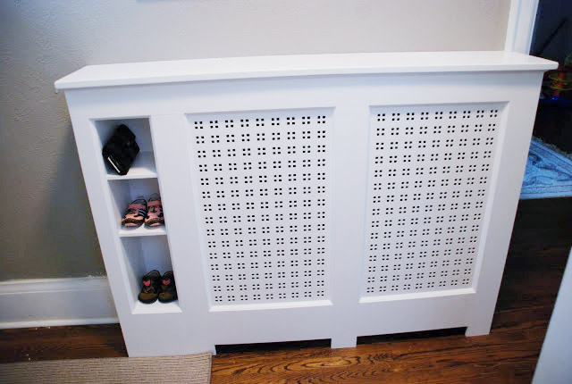 DIY Radiator Cover with storage cubbies, homemade radiator cover, easy diy radiator cover idea