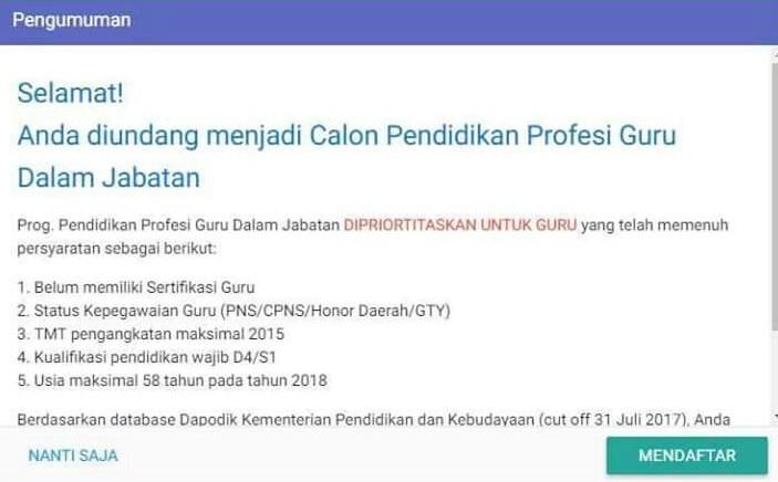 Cara Mendaftar PPG Dalam Jabatan Melalui Melalui SIMPKB 2018