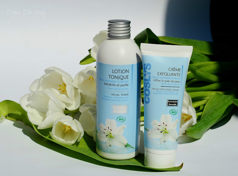 Coslys Organiczny tonik z ekstraktem z lilii oraz Złuszczający krem do twarzy z ekstraktem z lilii i perełkami jojoba