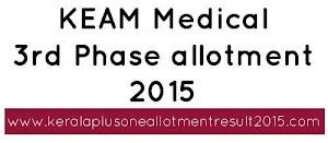 KEAM Medical 3rd allotment 2015