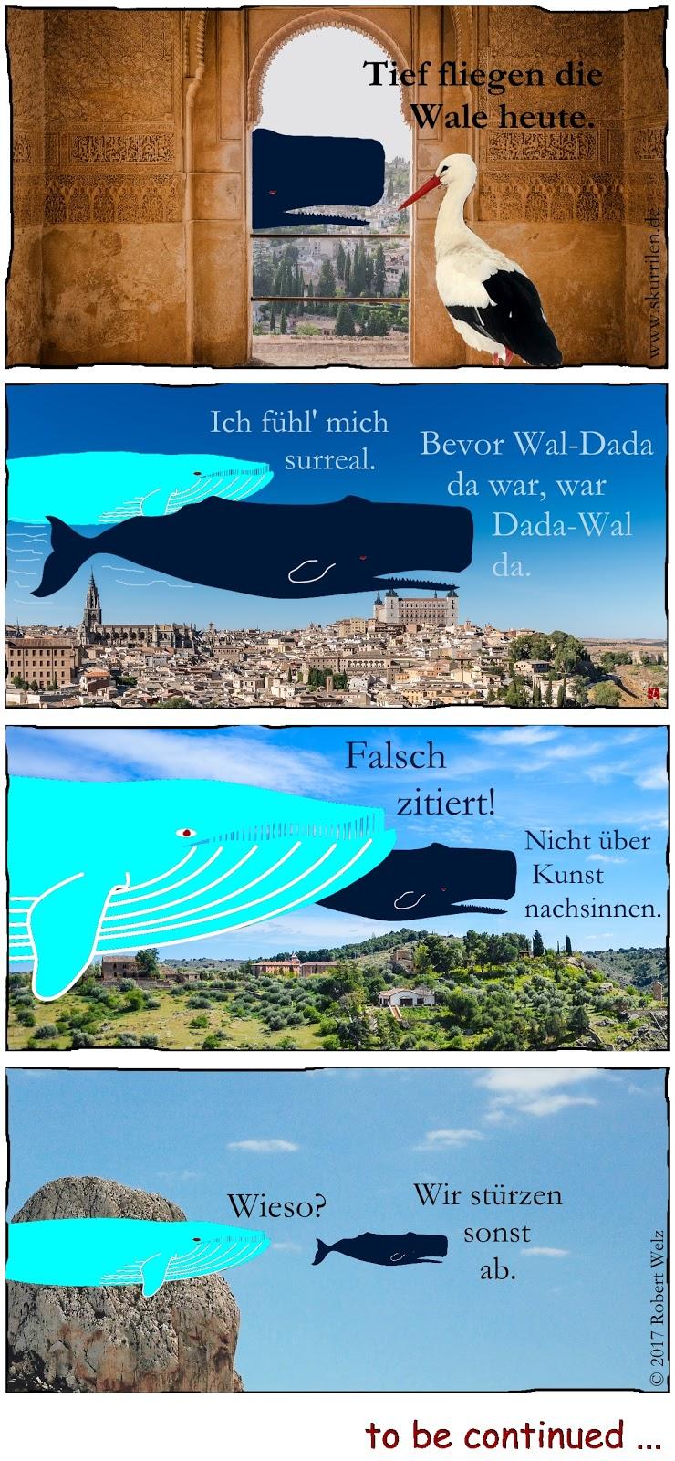 Comic-Collage: Dada-Kunst oder surrealer Traum? Der Storch scheint nicht erstaunt über die tief über Spanien fliegenden, kunstsinnigen Wale