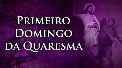 imagem de Jesus sendo tentado pelo Diabo com a frase: primeiro domingo da quaresma