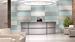 White Reception Desk with Curved Front