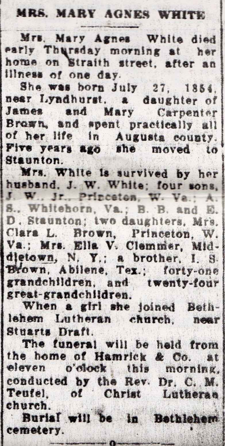 Mary Agnes (Brown) White Obituary, Staunton News-Leader, Nov. 26, 1932