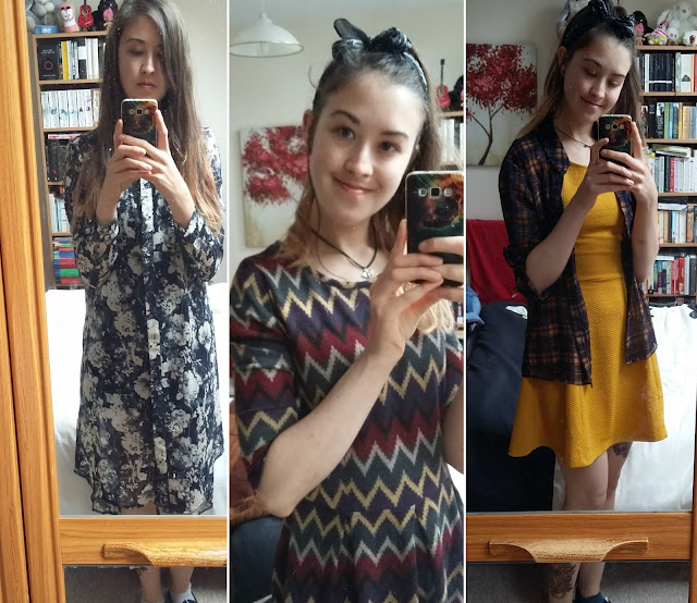 A collage of me wearing three different dresses