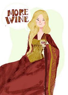 More wine: ilustración de Cersei Lannister con una copa de vino