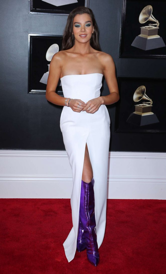 Hailee Steinfeld smoulders in strapless dress and purple boots at the 2018 Grammy Awards