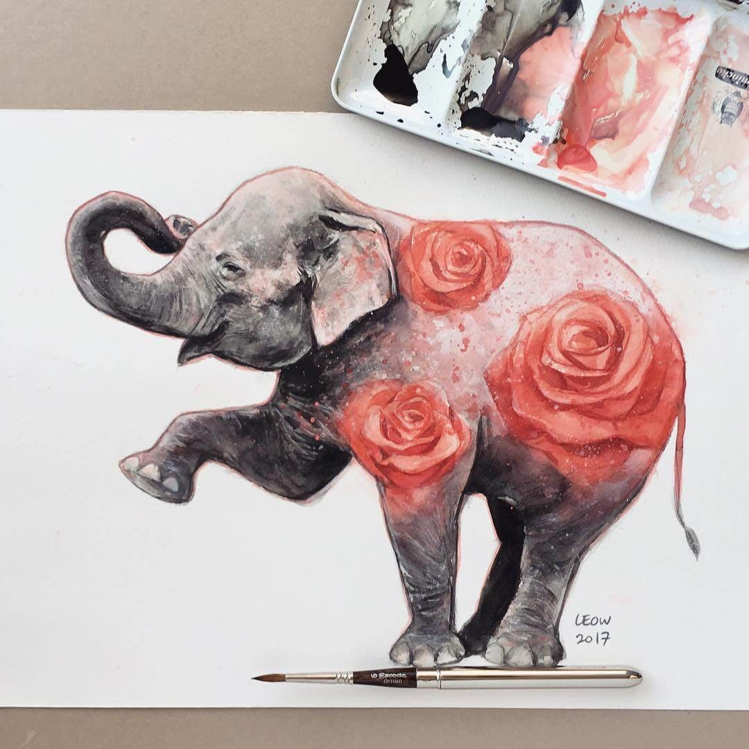 01-Elephant-and-red-roses-Leow-Fantastic-Mix-of-Watercolor-Paintings-www-designstack-co