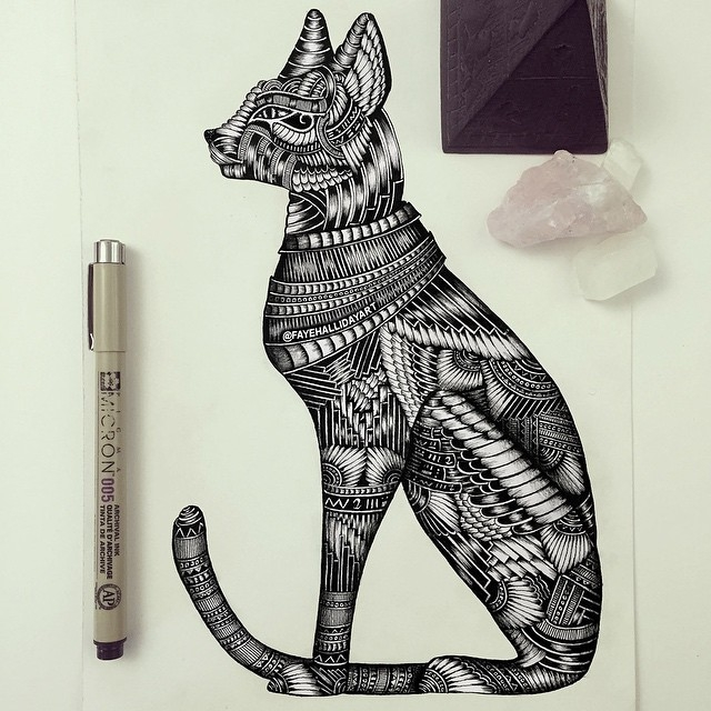 21-Sphynx-Cat-Faye-Halliday-Haathi-Detailed-Drawings-Representing-Complex-Animal-www-designstack-co
