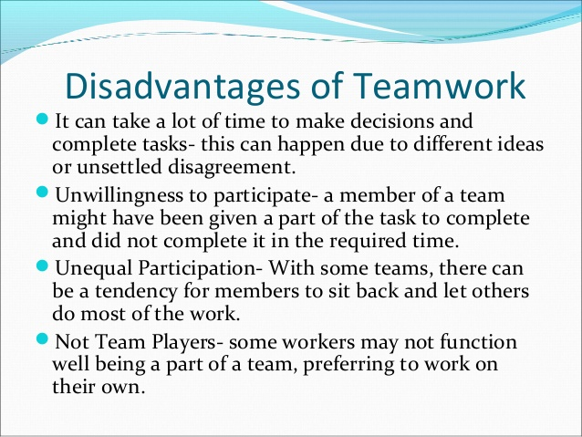 The Disadvantages of Teamwork in the Workplace