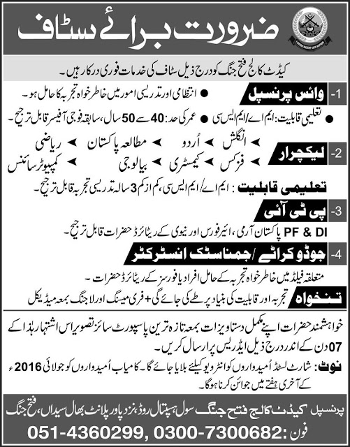 Jobs in Pakistan Cadet College Fateh Jang for Teachers