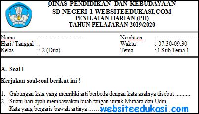 Soal PH Kelas 2 Tema 1 Subtema 1