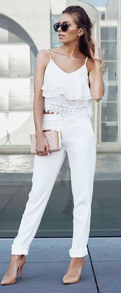 amazing casual style: top + pants + heels + bag