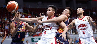 Scottie Thompson tries to keep the ball from being stolen