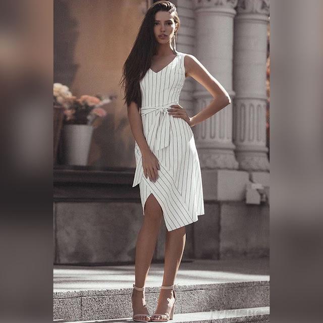Ασύμμετρο μεσάτο άσπρο φόρεμα AMANDA