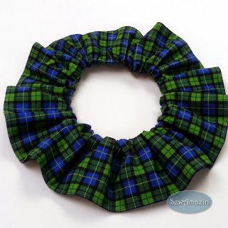 Blue and Green Tartan Plaid Dog Scrunchie Neck Ruffle