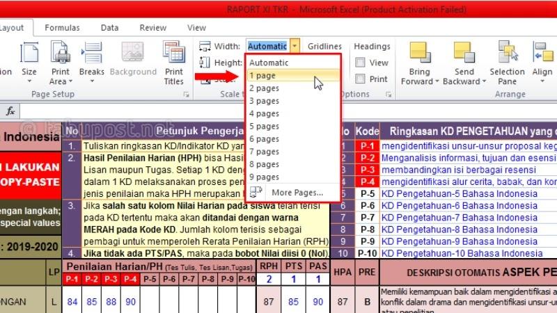 Cara Membuat Worksheet Menjadi Satu Halaman di Excel - Print Excel Hanya Satu Halaman