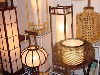 tempat lampu antik dari kulit bambu