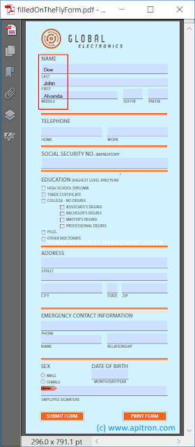 Pic. 4 Compact version of the PDF form filled using FDF created on the fly