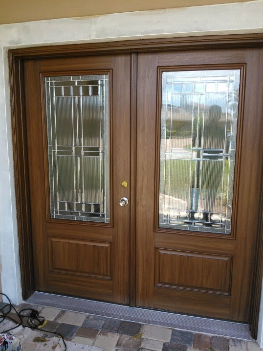 Painting Two New Front Doors To Look Like Wood