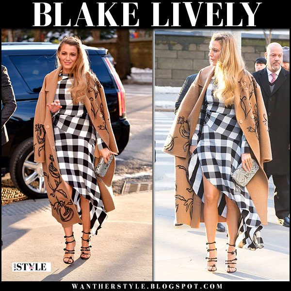 Blake Lively in camel coat oscar de la renta and black and white gingham dress monse fashion march 22