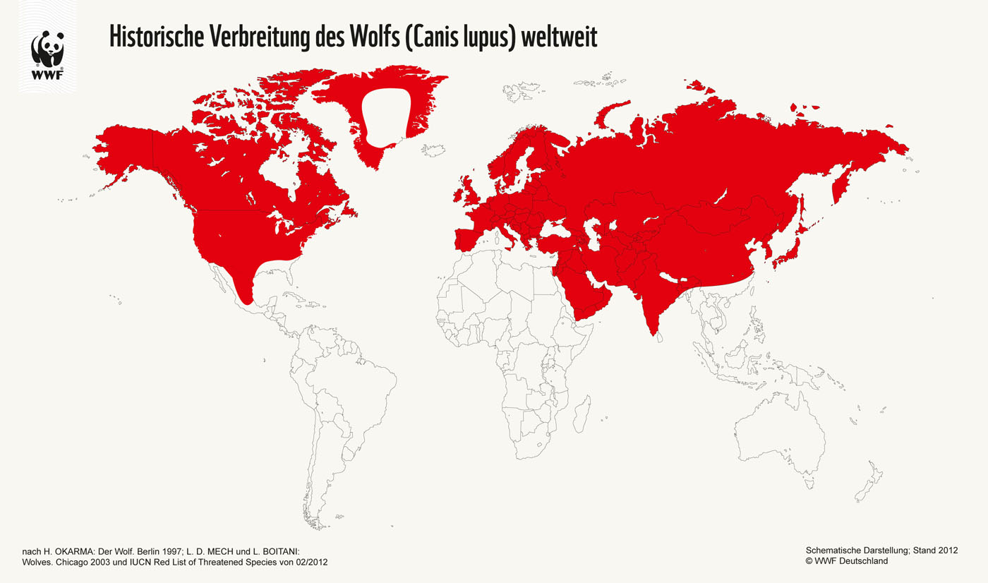 Historical distribution of the Wolf