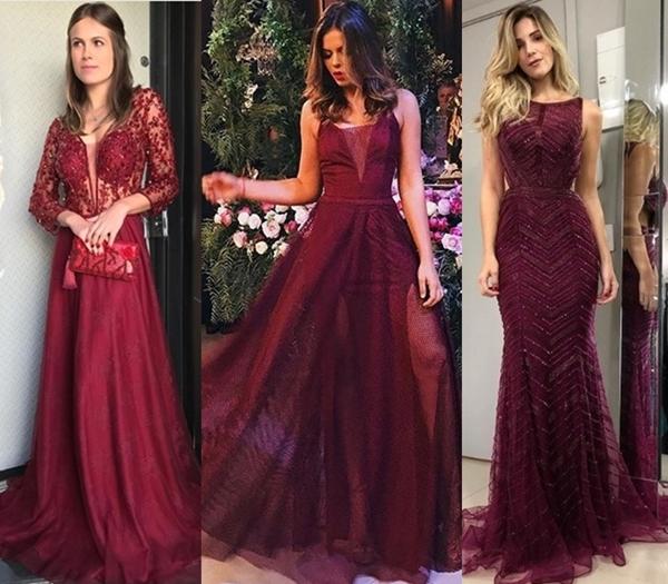 vestido de festa marsala e vinho