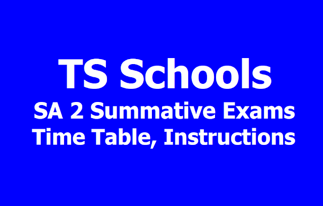 TS Schools SA II Summative SA 2 Annual Exams Time Table
