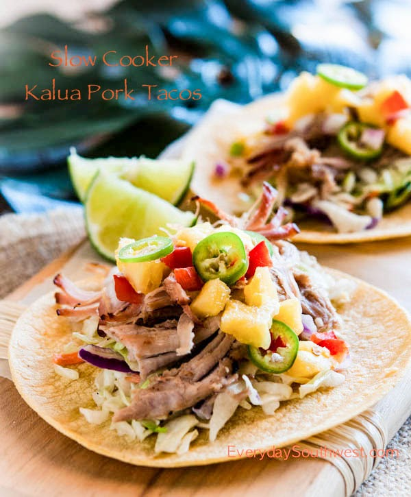 Slow Cooker Kalua Pork Tacos Recipe featured on SlowCookerfromScratch.com