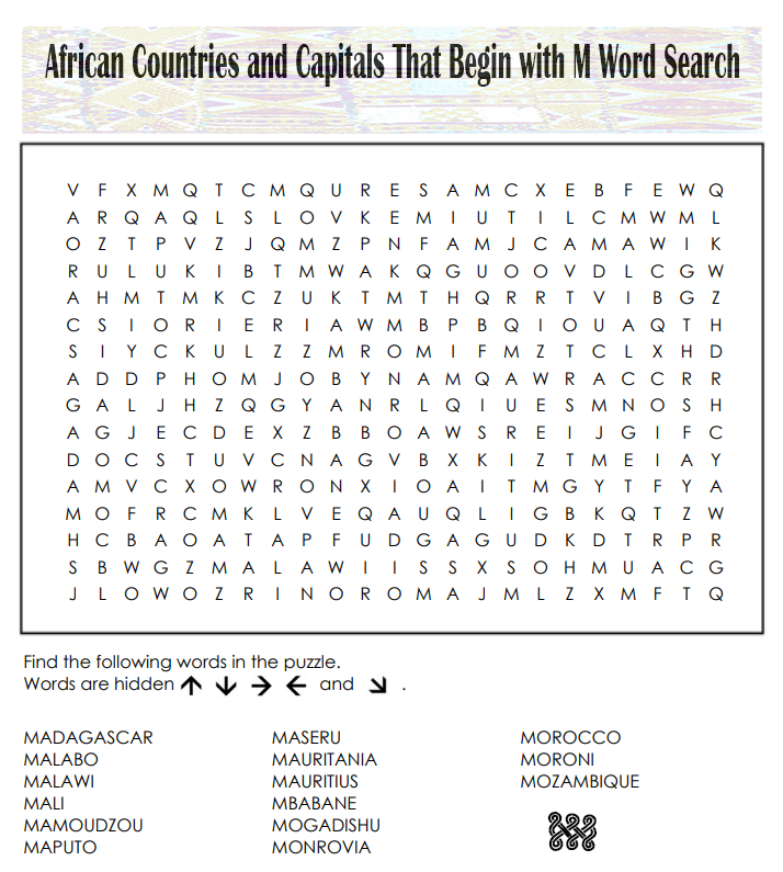 African Countries and Capitals That Begin with M Word Search
