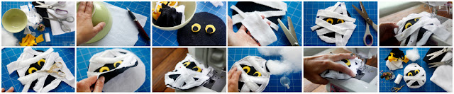 Step-by-step how to make a DIY Halloween mummy face dog toy
