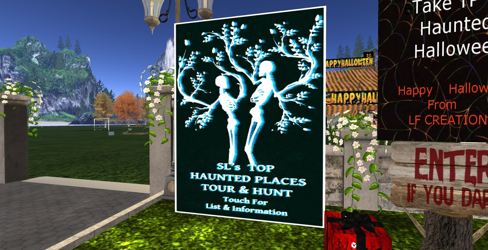 halloween is always a treat in second life creators and designers go out of their way to make spooky scary places there is a poster around that gives