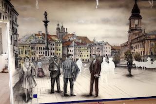Malowanie obrazów, mural ścienny przedstawia Plac Zygmunta archiwalne zdjęcie. Malowanie obrazów na ścianie, artystyczne graffiti