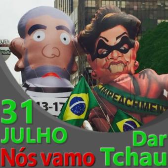 Lula e Dilma pixulecos com data de manifestação 31/7