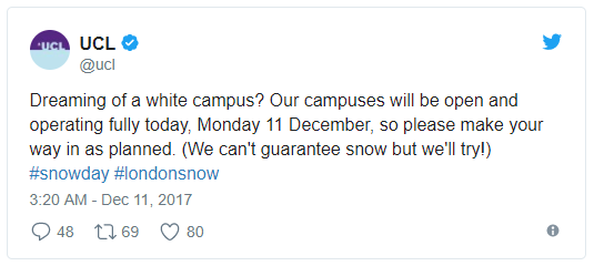 aman thankar who describes himself its aman geddit as an alumni replied this ucl alumni is not dreaming of a white campus thanks - What Is A White Christmas