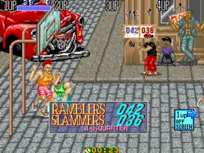 街機大型電玩:龐克籃球+作弊碼金手指(無限能量),發洩情緒毫無規則的暴力運動遊戲!