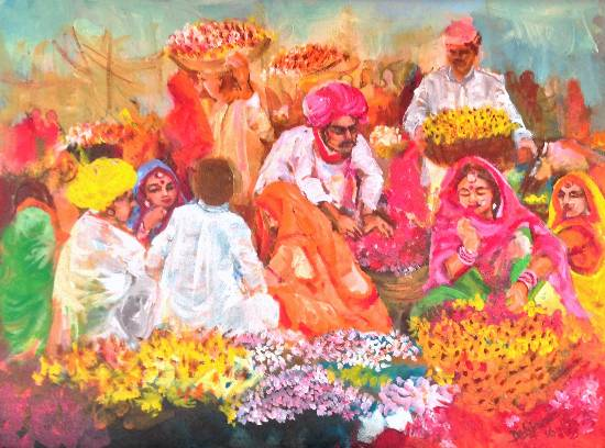 The flower sellers, painting by Debjani Datta (part of her portfolio on www.indiaart.com)