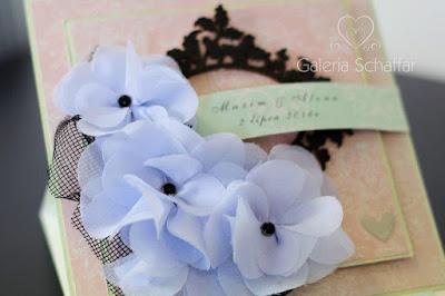 chiffon flowers handmade vediing card galeria schaffar