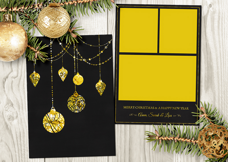 Art  Photography  Digital  graphic design  christmas card  holiday card  card template  photo card template  photoshop template photo template  folded card template  gold christmas  5x7 photo card  for photographer  gold foil card  bokeh