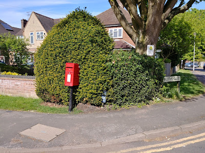 Photograph of ER post box at the junction of Holloways Lane and Booths Close Welham Green Image from the North Mymms History Project released under Creative Commons