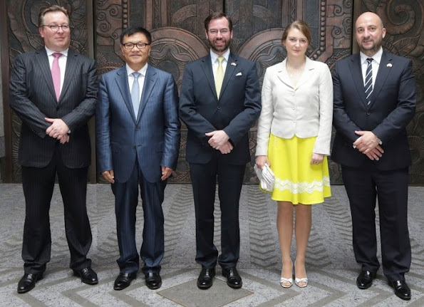 Hereditary Grand Duke Guillaume and Hereditary Grand Duchess Stephanie of Luxembourg visit China, Beijing, Hong Kong, Shanghai. Style of Princess Stephanie