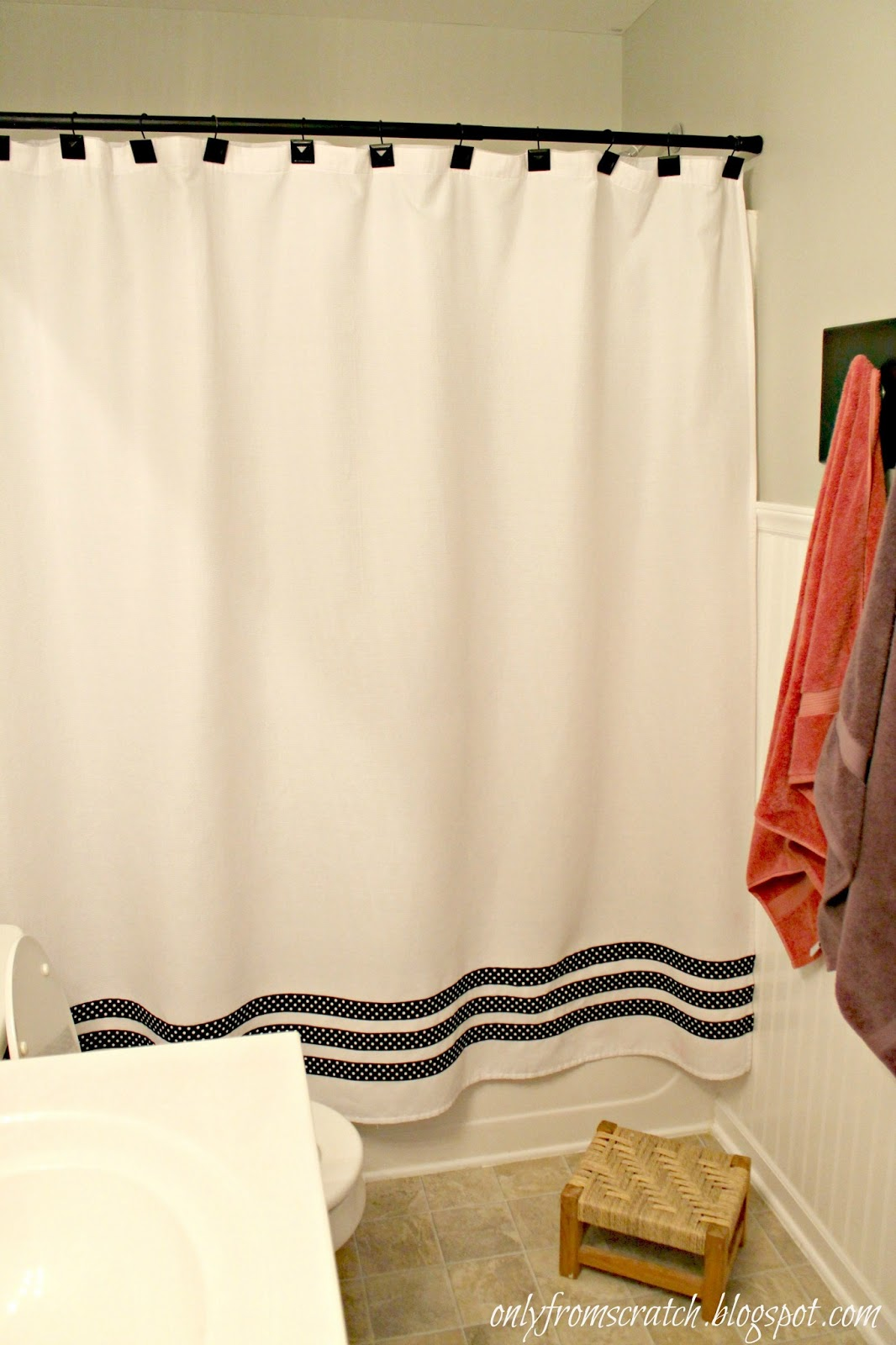 Only From Scratch Adding Ribbon To A Shower Curtain
