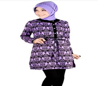 model atasan batik wanita muslim terbaru