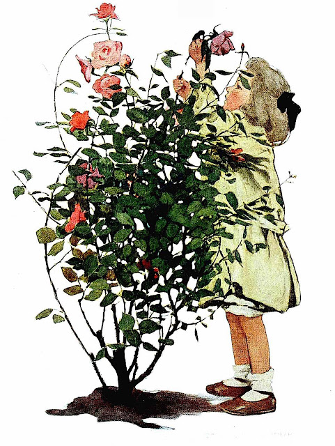 a Jessie Willcox Smith illustration of a girl pruning flowers