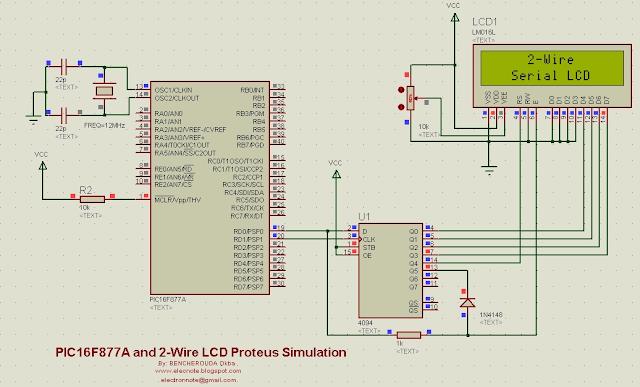 pic16f877a 2 wire lcd mikroc