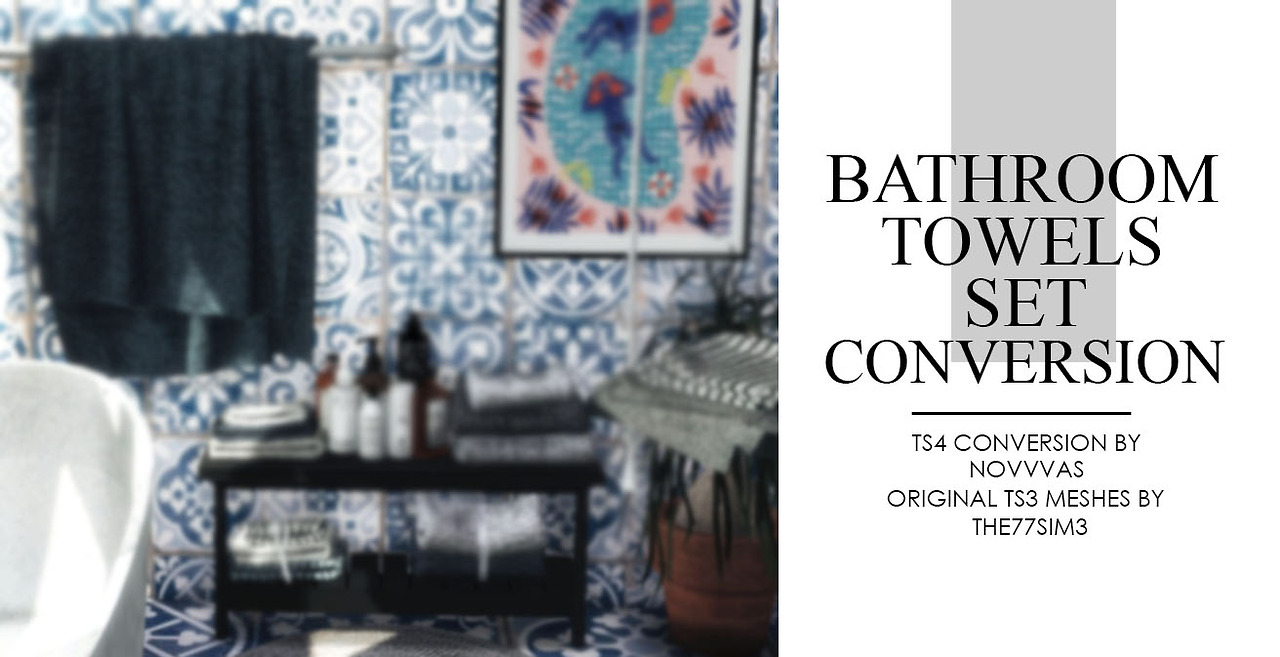 sims 4 cc's - the best: bathroom towels set conversion by novvvas, Badezimmer ideen