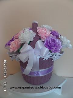 kosz, wiklina papierowa, fiolet, na urodziny, 50-lecie ślubu, wesele, imieniny, róż, biel, wstążka, handmade, rękodzieło
