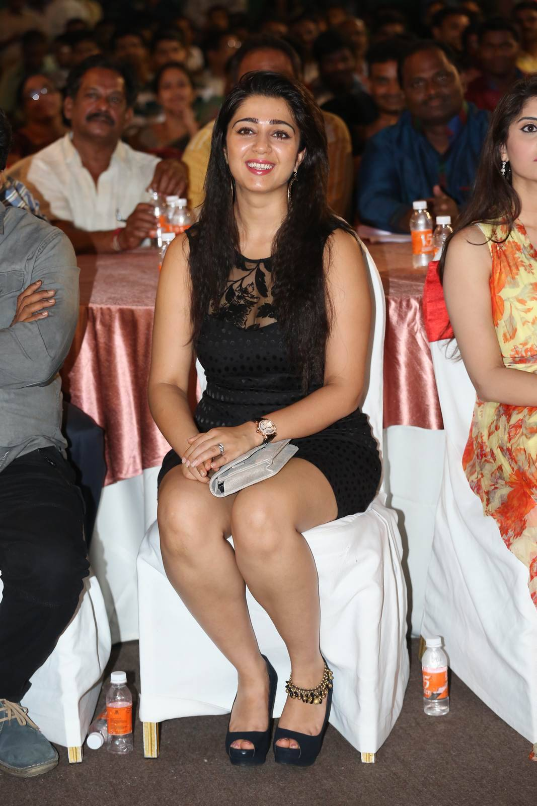 Charmi Unseen Stills, Charmee Kaur Pics Clicked in Black Dress at Event
