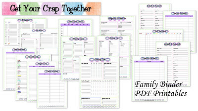Free Family Organizing finance cleaning printables