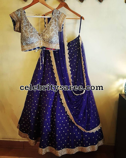 Blue Dots Lehenga Fancy Blouse